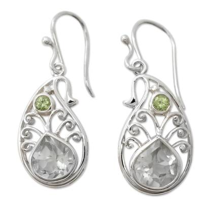 Sterling Silver Paisley Earrings with Prasiolite and Peridot