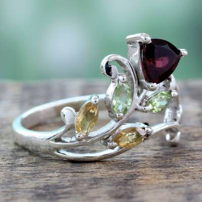 polishing titanium rings - Multigemstone Flower Ring Crafted with Sterling Silver