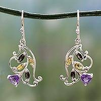 Multigemstone flower earrings, 'Glorious Rosebud' - Multigemstone Sterling Silver Flower Earrings