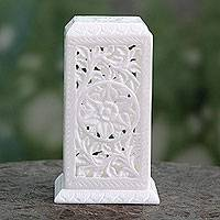 Marble tealight candleholder, 'Agra Pillar of Light' - Artisan Crafted White Marble Tealight Candle Holder
