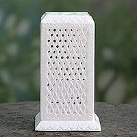 Marble tealight holder, 'Mughal Pillar of Light' - White Marble Tealight Holder Carved by Hand in India