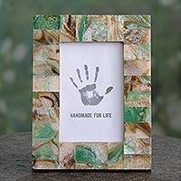 Photo frame, 'Earthen Feast' (4x6) - Frame for 4x6 Photograph in Green and Beige Crafted by Hand