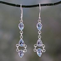 Blue topaz dangle earrings, 'Mystic Wonder' - Indian Fair Trade Sterling Silver Blue Topaz Earrings