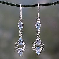 Blue topaz dangle earrings, 'Mystic Wonder'