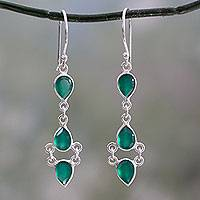 Onyx dangle earrings, 'Mystic Wonder' - Sterling Silver Handcrafted Earrings with Faceted Green Onyx
