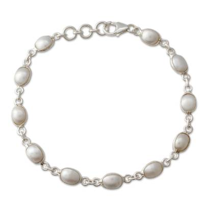 Cultured Pearl Handcrafted Tennis Bracelet Sterling Silver