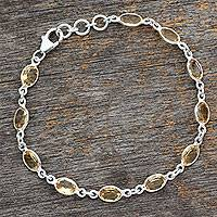 Citrine tennis bracelet, 'Romantic Yellow' (India)