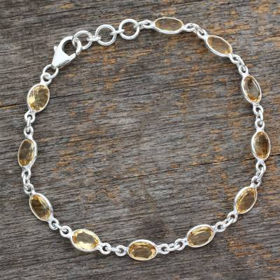 Citrine tennis bracelet, 'Romantic Yellow' - India Handcrafted Sterling Silver Citrine Tennis Bracelet