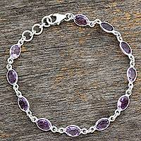 Amethyst tennis bracelet, 'Romantic Violet' - Handcrafted Indian Amethyst Sterling Silver Tennis Bracelet