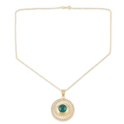 22k Gold Vermeil Pendant Necklace with Green Onyx