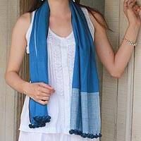 Khadi cotton scarf, 'Sky Dreams' - Hand Woven Blue Khadi Cotton Scarf with Pompoms