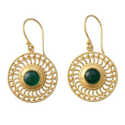 22k Gold Vermeil Hook Earrings Handcrafted with Green Onyx