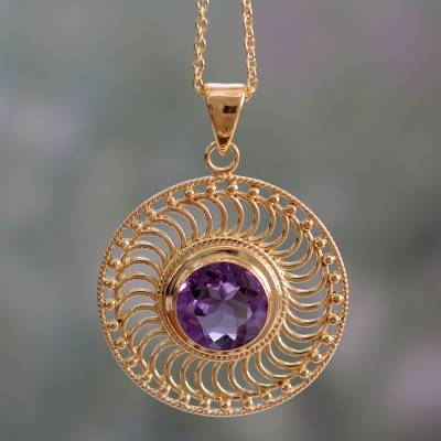 Gold vermeil amethyst pendant necklace, 'Whirlwind' - Handcrafted Amethyst and 22k Gold Vermeil Pendant Necklace