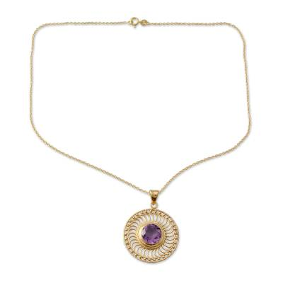 Handcrafted Amethyst and 22k Gold Vermeil Pendant Necklace