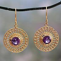 Gold vermeil amethyst dangle earrings, 'Whirlwind' - India 22k Gold Vermeil Earrings Handcrafted with Amethyst