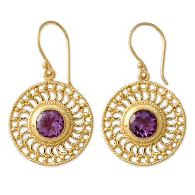 India 22k Gold Vermeil Earrings Handcrafted with Amethyst