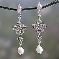 Cultured pearl dangle earrings, 'Ode to Fantasy' - Shiny Sterling Silver Earrings with White Pearls from India