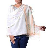 Jamdani cotton shawl, 'Bengal Garden' - Light Beige Floral Cotton Shawl Hand Woven Jamdani Wrap