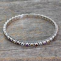 Multigemstone bangle bracelet, 'Multicolor Energy' - Amethyst Topaz Citrine and Garnet Silver Bangle Bracelet