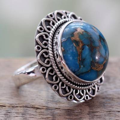 blackened pearl silver ring eq - Indian Sterling Silver Ring with Blue Composite Turquoise