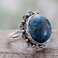 Sterling silver cocktail ring, 'Solar Blues' - Indian Blue Composite Turquoise on Sterling Silver Ring