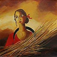 'Neo–Marxian I' - Indian Woman's Portrait in Signed Acrylic on Canvas