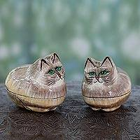 Papier mache boxes, 'Contented Kitties' (pair) - Indian Handcrafted Cat Theme Papier Mache Boxes (Pair)