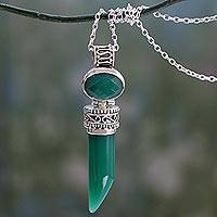 Onyx pendant necklace, 'Love Amulet' - Indian Handcrafted Green Onyx Pendant Necklace in Silver