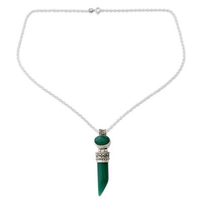 Indian Handcrafted Green Onyx Pendant Necklace in Silver