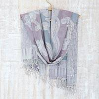 Jamawar wool shawl, 'Mauve Beauty' - India Jamawar Style Wool Shawl in Blue and Mauve