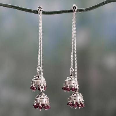Garnet dangle earrings, 'Wedding Bells' - Indian Sterling Silver Detachable Garnet Jhumki Earrings