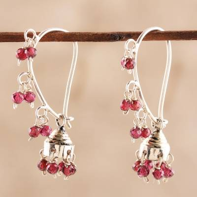 Garnet chandelier earrings, 'Music' - Garnet and Sterling Silver Handcrafted Jhumki Earrings