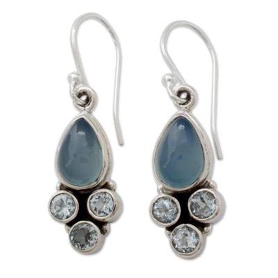 Fair Trade Chalcedony and Blue Topaz Silver Dangle Earrings