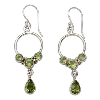Natural Peridot and Sterling Silver Dangle Earrings