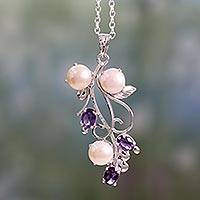 Amethyst and cultured pearl pendant necklace, 'Sincerely Yours' - Pendant Necklace in Silver with Amethysts and Pearls