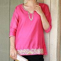 Cotton and silk blend tunic. 'Jaipuri Masala' - Elegant Bright Pink Tunic in a Cotton and Silk Blend