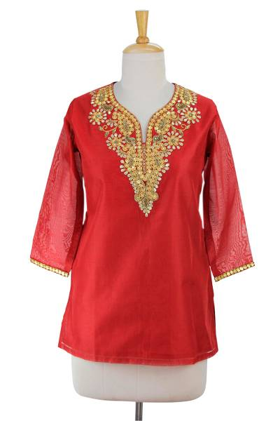 Cotton and silk blend tunic, 'Jaipuri Romance' - Embellished Red Cotton and Silk Tunic with Embroidery