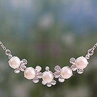 Cultured pearl pendant necklace, 'Peaceful Petals' - Rhodium Plated Sterling Silver and Cultured Pearl Necklace