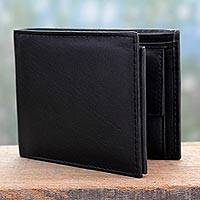 Men's leather wallet, 'Dashing Black' - Men's Tri Fold Leather Wallet in Black from India