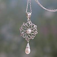 Cultured pearl pendant necklace, 'Chakra Mandala' - Pendant Necklace with Cultured White Pearls and 925 Silver