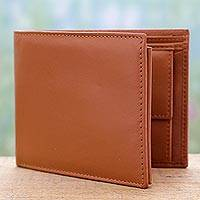 Men's leather wallet, 'Dashing Tan' - Artisan Crafted Genuine Leather Men's Wallet in Tan