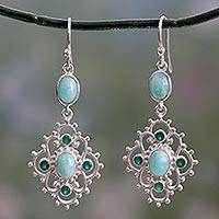 Amazonite and onyx dangle earrings, 'Garden Trellis' - Silver Dangle Earrings with Amazonite and Green Onyx