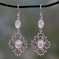 Iolite and rainbow moonstone dangle earrings,