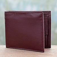 Men's leather wallet, 'Refined Cordovan' - Cordovan Leather Classic Wallet for Men Handcrafted in India