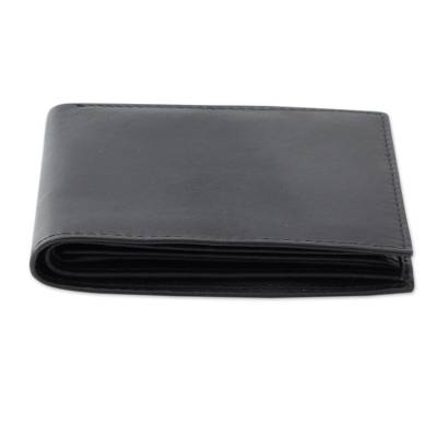 Men's leather wallet, 'Bengal Black' - Men's Traditional Black Leather Wallet with Interior Compart