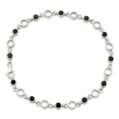 Classic Sterling Silver and Smoky Quartz Anklet