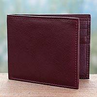 Men's leather wallet, 'Bengal Cordovan' - Artisan Crafted Men's Leather Wallet in Cordovan