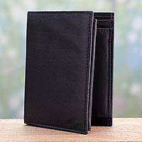 Men's leather wallet, 'Elegant Black' - Black Leather Wallet for Men Handmade in India
