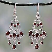 Garnet chandelier earrings, 'Dancing Chandelier' - Chandelier Style Earrings in Silver with Garnets