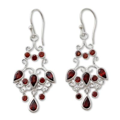 Chandelier Style Earrings in Silver with Garnets